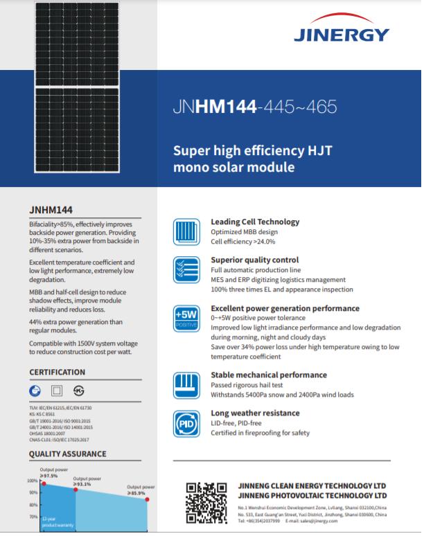 hjt solar panel datasheet