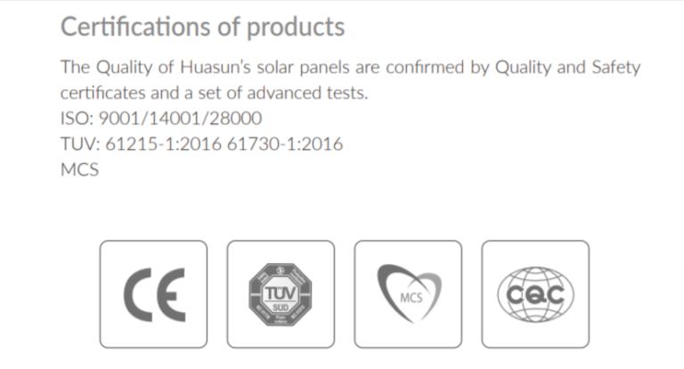 ANHUI Huasun company certification